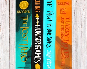Book Spine Digital Art Print for Book Lovers or English Teachers
