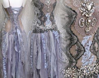 Fairy wedding dress, alternative wedding dress, Victorian wedding, bridal gown ocean colors,vintage inspired, bridal gown,silver goddess,raw