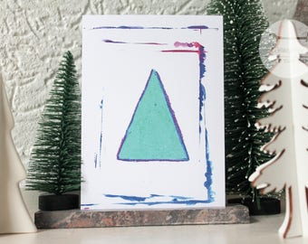Watercolor triangle - A6 postcard // Colorful illustration