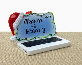 Santa Laptop Computer Personalized Ornament - Desk - Office - New Job - Hand Personalized Christmas Ornament