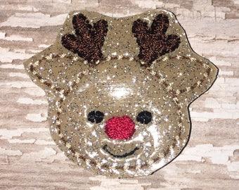 Set of 4 Reindeer Felties Rudolph Christmas Santa Reindeer Hairbow Feltie Felt Embellishment Bow! Planner Clip
