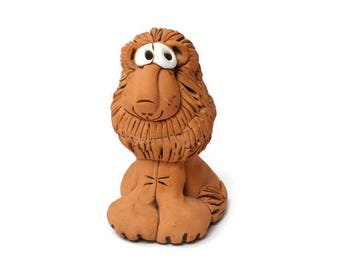 Vintage Whimsical Lion Fired Clay Figurine Statuette The Bestiary Beast Ceramic Cartoon Big Cat