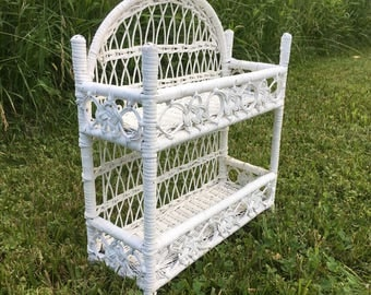 Vintage White Wicker Two Tier Shelf/Display/Decor; Shabby Chic Shelves/Shelving