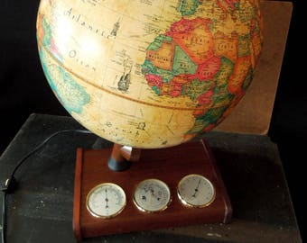 Lamp Globe - Scan World Globe Denmark 1980- Barometer Hydrometer Thermometer Stand - Office Home Decor Vintage