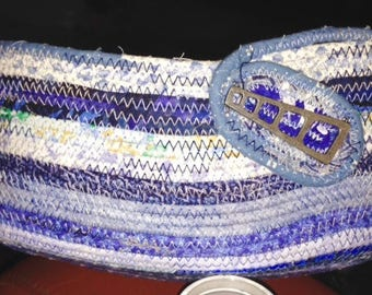 Oblong Blue and White Fabric Covered clothesline basket
