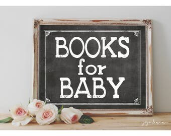 INSTANT ' Books for Baby' Baby Shower Book Request GIFT TABLE Printable Size Options Digital Chalkboard Sign