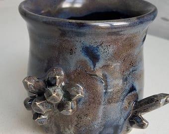 Geode Crystal Cup or Holder Black Grey Gem Handmade Pottery