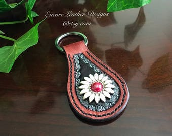 Daisy Daisy  Key Fob handmade made of genuine leather.