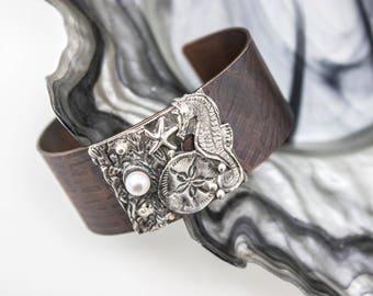 """Fine Silver and Copper Cuff Bracelet """"Under the Sea"""""""
