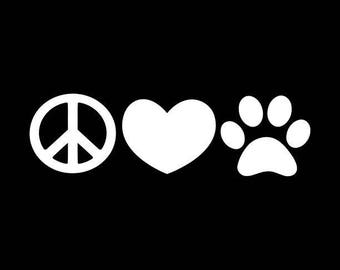 Peace Decal Pet Car Decal Animal Lover Decals Peace Heart Paw Dog Cat Animal Vinyl Decal Car Truck Window Bumper Sticker