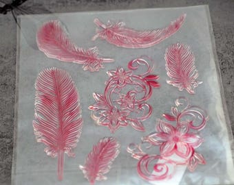 Cling Stamps, Feathers and Flourishes Beautiful Stamps  #505-AS