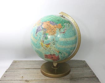 Vintage Replogle globe, 12-inch globe on metal stand, pre-1990s. Globe, map, lighted globe, lighted, lucite, modern, Denmark, world