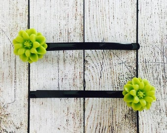 Lime Green Bobby Pins. Lime Chrysanthemum Slides. Vintage Bobby Pins. Wedding Hair Accessories. Prom Hair Pins. Made in Australia (H001)