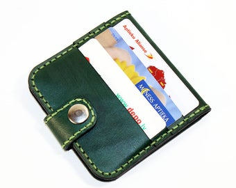 Leather wallet, green wallet, great leather item, green men's wallet, credit card wallet, gift for men