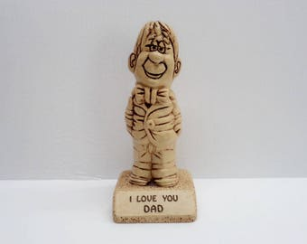 1971 I Love You DAD Figurine, Father's Day Gift, Made in USA wooden Figure, 1971 wooden Statue of a Father