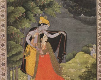 Indian Miniature Painting 1962 printed reproduction - Tryst In The Forest