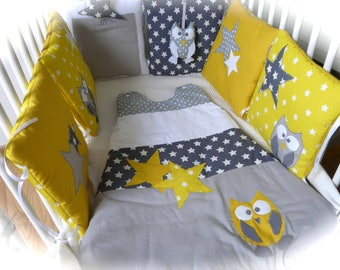 Bumper owls and stars (yellow and grey)