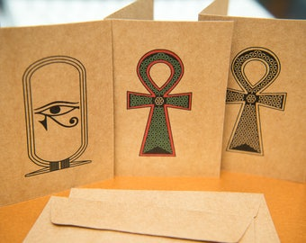 Small Egyptian Ankh art greeting cards. Flower of Life kraft Blank cards. Horus Protection, Ancient Egypt, Spiritual card packs. kraft