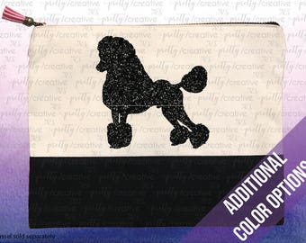 Poodle Dog Two Tone Makeup/Travel Cosmetic Bag with Black Canvas Trim -  Black, Silver or Gold Glitter