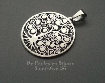 1 pendant tree of life print metal steel stainless 38.5x35.4mm