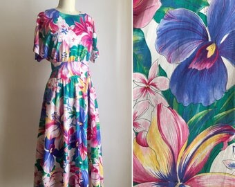 vintage cotton sundress L ~ 80s tropical floral dress
