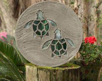 "Baby Sea Turtles Hatchlings Stained Glass Stepping Stone 18"" Diameter Perfect for Garden Patio or a Path to Your Back Yard Fish Pond #811"