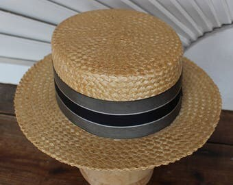 "Vintage Men's Straw Boater Hat Moveo Et Proficio New York 6 1/2"" w X 8 1/2"" front to back"