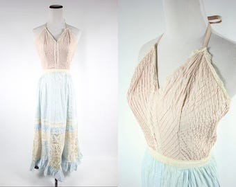 1950's Cotton Embroidered Lace Halter Dress