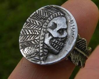 Hobo Nickel chief skull solid sterling silver adjustable feather biker ring
