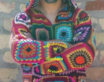 Granny Square,patchwork men's sweater,men's sweatshirt with a hood,male crocheted sweater,hood sweatshirt,men's fashion,modern,unique,hoody