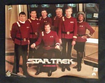 Original 1980s Star Trek On Videocassette Retro Vintage Poster William Shatner Leonard Nimoy