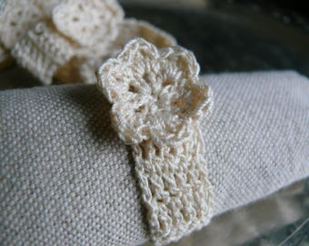 Ecru cotton napkin rings, Set of 4, 6, 8, 12 crochet napkin rings, rustic wedding table decor, chic home Decoration, cotton napkin rings