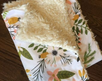 Spring floral Double Cuddle Minky blanket