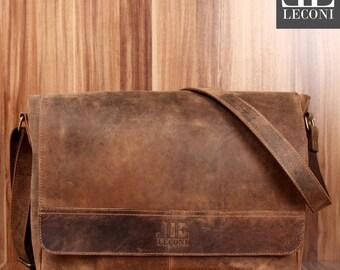 LECONI large shoulder bag shoulder bag Messenger bag Briefcase business bag leather vintage Brown LE3064-vin