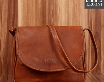 LECONI small shoulder bag leather bag purse shoulder bag Leather Brown LE3047-wax