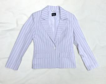 Vintage  jacket • Womens black and white striped  jacket • Summer jacket • Cropped jacket • Womens fashion • Womens blazer • Womenswear