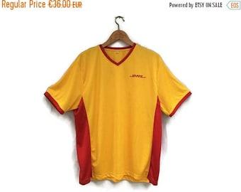 SALE Vintage DHL T-Shirt 90s Mesh Dhl T-shirt Unisex T-Shirt Vetements Style  Mens Activewear Red Print Logo Dhl  T-Shirt  Xl (Rare!)