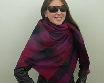 Blanket Scarf, Plaid Scarf, Cotton Scarf in Plum, Purple and Bordeaux, Flannel Scarf, Tartan Scarf SALE 20% OFF