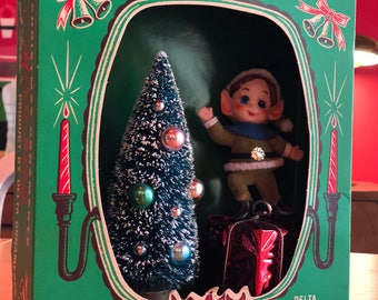Vintage Christmas Shadow Box / Diorama - Elf with Christmas Tree - Miro Star