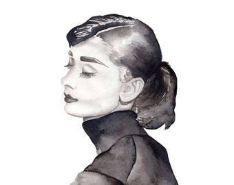 Watercolor Print Audrey Hepburn Black and White 8.5 x 11