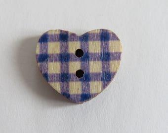 Dark blue gingham wooden heart button