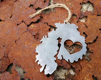 Acadia National Park Ornament Rustic Raw Steel Mount Desert Island Metal Heart Christmas Tree Stocking Stuffer Holiday Gift Travel Keepsake