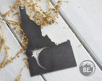 Pick Your Eclipse State Rustic Raw Steel Ornament Metal State Moon Sun Keepsake Travel Christmas By BE Creations