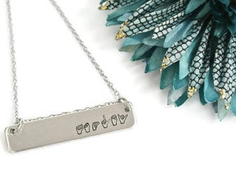 ASL Name Necklace | Personalized Sign Language Necklace | Deaf Jewelry | Sign Language Interpreter Gift | Sign Language Gift | ASL Necklace