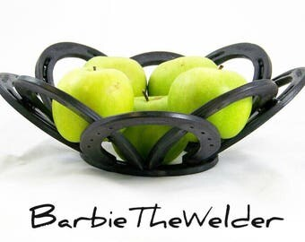 Horseshoe Fruit Bowl Country Western Themed Line of Home Decor by BarbieTheWelder Table Centerpiece welded metal art sculpture rustic