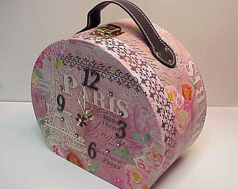 Paris Travel Case aCharm Clock for Desk Wall Table or Dresser Adorable Clock and Treasure Box in One  Special Hiding Place - Personalize it!