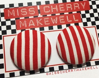 Red & White Candy Carnival Stripe Fabric Button Rockabilly Retro 1950's 1960's Pin Up Vintage Inspired Stud Earrings By Miss Cherry Makewell