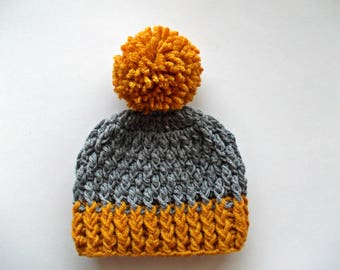 Wool baby hat Boy pom pom hat Crochet baby boy hat Wool newborn hat Newborn boy hat Newborn boy outfit Winter baby hat Newborn pom hat