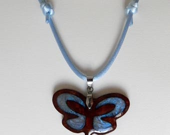 Butterfly  inlaid wooden necklace