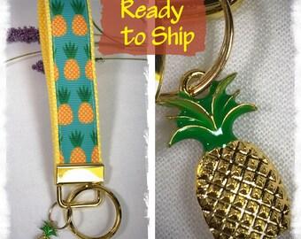 Pineapple fob key. Mini key fob.Pineapple lanyard. Pineapple wristlet Pineapple ribbon.Pineapple  keychain. Pineapple charm. Ribbon keychain